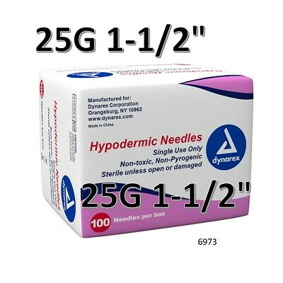 "Dynarex Hypodermic Sterile Needles 100CT ,25G 1-1/2"" O 6973"