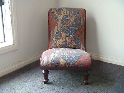 Antique Edwardian Walnut Ladies Bedroom Nursing Chair Circa 1900
