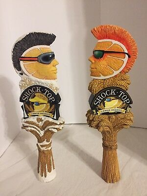 2 SHOCK TOP LEMON SHANDY 12 inches Beer Tap Handles Mohawk Dude Man Cave Bar