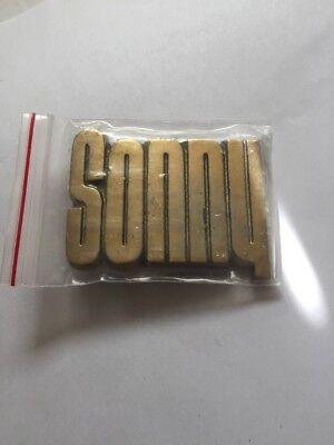 * Sonny * HEAVY CUT OUT SOLID BRASS NAME BELT BUCKLE VINTAGE 1970's 3D DECO NOS