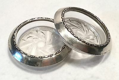 Pair c.1900s AMSTON Glass COASTERS or ASHTRAYS w/ STERLING Rims - No. 144