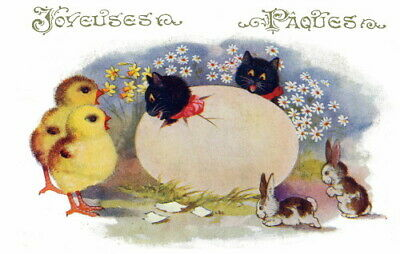1921 Comique French Easter Kittens in Egg~Bunny Rabbits~Chicks~NEW Note Cards