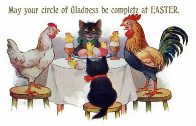 1920's Comique French Easter Kittens~Rooster~Hen~Chicks At Table~NEW Note Cards