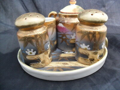 Vintage Beautiful Hand Painted Japan Salt and Pepper Shaker Set