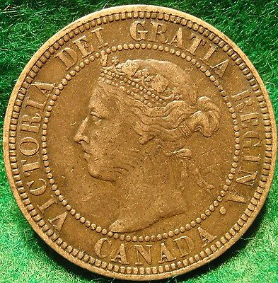 1901 XF High Grade CANADA LARGE CENT Victoria COIN CANADIAN <.-...