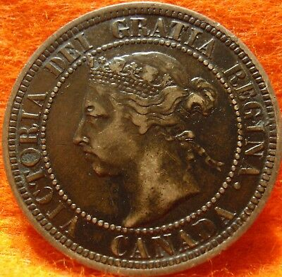 1890 XF High Grade CANADA LARGE CENT Victoria COIN NoRes CANADIAN