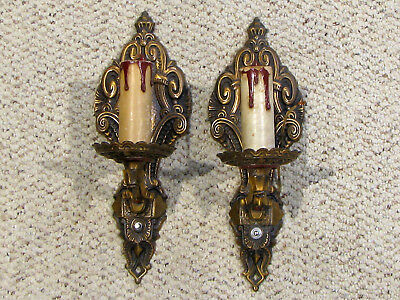 Pair Of Solid Cast Bronze Finish Art Deco Era Wall Sconces - Colonial Chadlr Wks