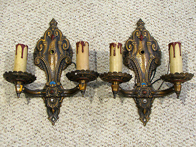 Pair Of 2-Arm Heavy Cast Bronze Finish Art Deco Wall Sconces-Colonial Chadlr Wks
