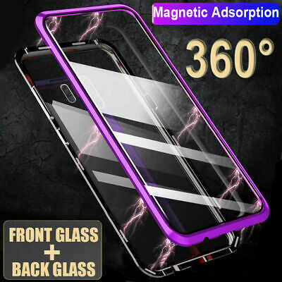 Magnetic Adsorption Clear 360 Tempered Glass Case Cover For Samsung S8 S9 Bumper