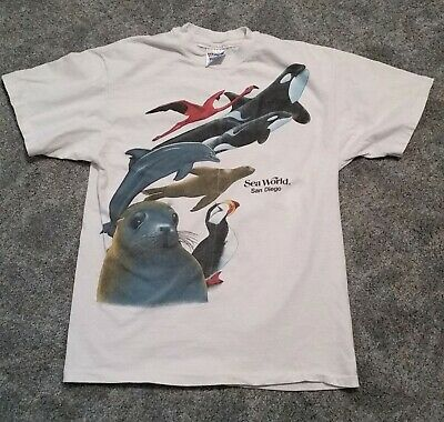 SEA WORLD Souvenir Graphic T-SHIRT Size MEDIUM