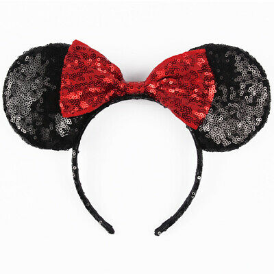 Disney Parks Minnie Mouse Black Red Bow Sequins Ear Headband Costume Party New