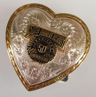 MONTANA SILVERSMITHS Silver/Gold Plate HEART Etched Belt Buckle NASCAR 50th 1997