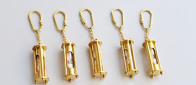 Brass Sand Timer Pendant Necklace Key Ring Maritime Nautical Key chain lot of 5