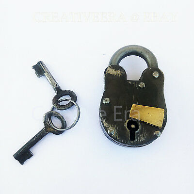 Iron Lock & Keys ~ Old Vintage Antique 1800s Style ~ Police Jailer Padlock Gift