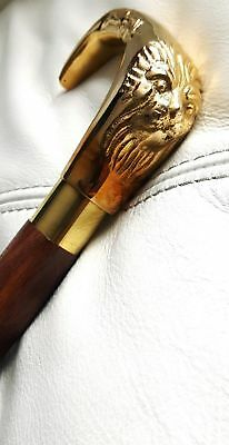 Brass Lion Head handle Classic Style Brown Wooden Walking Stick Cane handmade