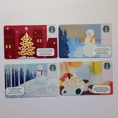 Set of 4 Starbucks gift cards Holiday snowman tree Snow mug  NEW Card NO VALUE