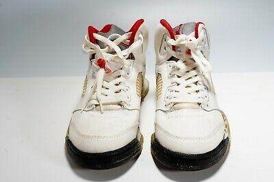 c01fa7c71890 NIKE AIR JORDAN V 5 1990 White Emerald Grape 10.5 Fire Red Metallic ...