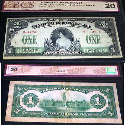 Dominion Of Canada  $1 1917  , Large Banknote With Beautiful Images