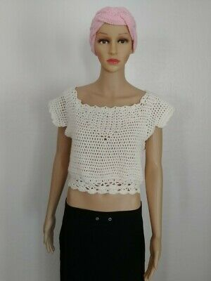Hand Knit Crochet Women's/Teen Whipped Cream Summer Fashion Top Size S