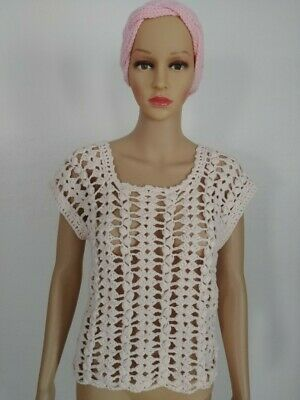 Hand Knit Crochet Women's/Teen Chamomile Summer Fashion Top Size S