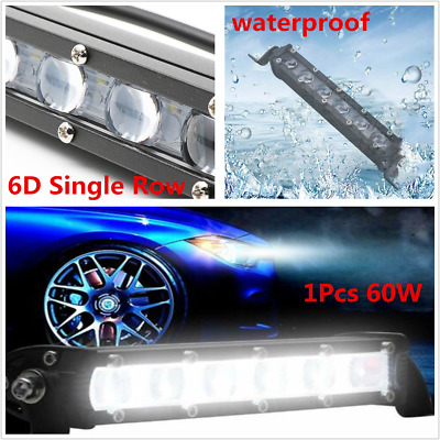 "8""inch 60w Universal Car Off road LED Work Light Slim Single Row Spot Beam Fog"
