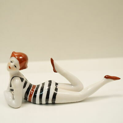 Figurine Bathing Beauty Sexy Art Deco-German Style Art Nouveau Style Porcelain
