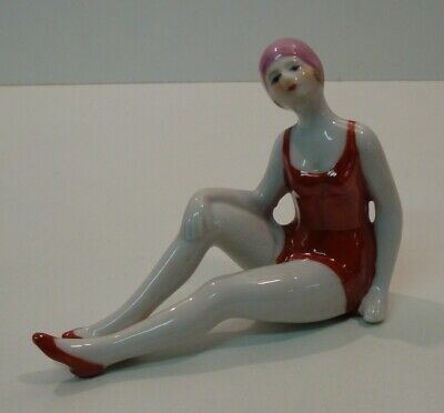 Figurine Bathing Beauty Sexy Art Deco-German Style Art Nouveau Style Porcelain E