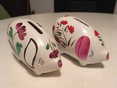 2 VINTAGE HAND SMALL Arthur Wood pottery pig money box / Piggy Banks Closed Eyes