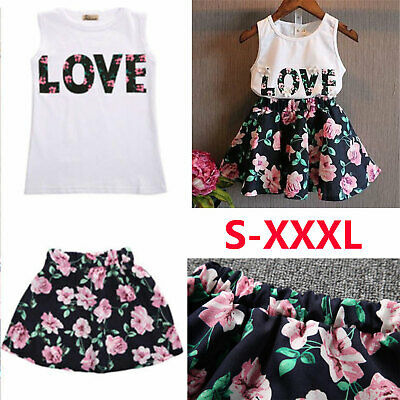 Toddler Kids Baby Girls Summer Outfits Clothes T-shirt Tops+Short Skirt UK STOCK