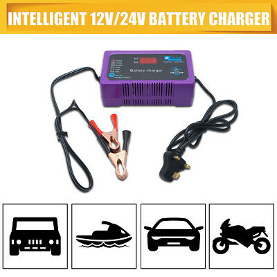 12V/24V 6A LCD Display Smart fast Charging Battery Charger for Car Truck Vehicle