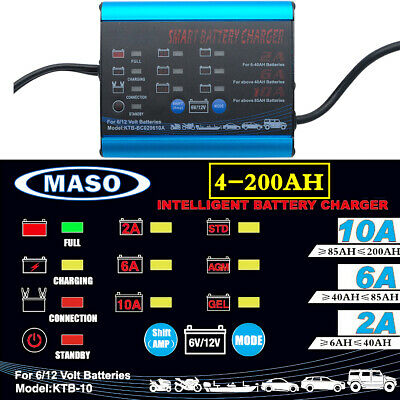 12 Volt 10 Amp 12V 6V Automatic Intelligent Battery Charger Trickle Fast Car Van