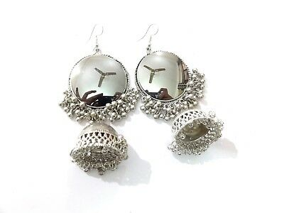 India Earrings Traditional Mirror Afghani Silver Oxidized Jhumka Fashion Jewelry