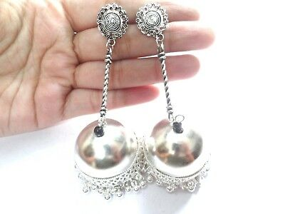 India Earrings Traditional Bells Afghani Silver Oxidized Jhumka Fashion Jewelry