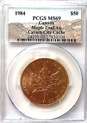 Rare,  Carson City Cache 1984- $50.00 Gold Coin, Ms-69 Pcgs, Canadian Maple Leaf