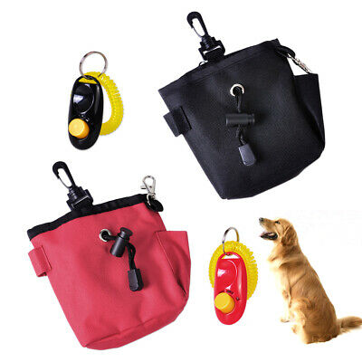 Puppy Dog Pet Treat Training Bait Ball Pouch Clicker Waist Bag Reward Obedience
