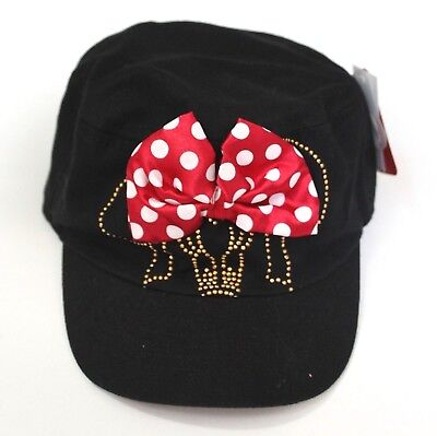 Disney Minnie Mouse Girls Black Red Hat Cap with Red Polka Dot Bow