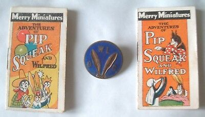2 x MERRY MINIATURES~PIP SQUEAK & WILFRED BOOKLETS ( 1920's ) & CLUB BADGE  RARE