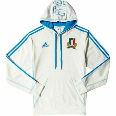 adidas ITALIE RUGBY HOODIE MEN'S WHITE ITALY SIX NATIONS WARM COMFY 2015 UNION