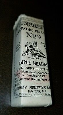 Antique Humphreys Homeopathic Medicine NOS #9 Simple Headache