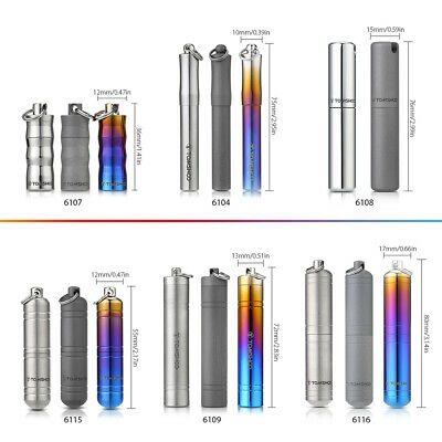 TOMSHOO Titanium Container Waterproof Capsule Seal Bottle Pills Box Case A8G4