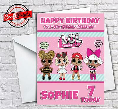 LOL Surprise Doll Birthday Card - Personalised with any name, age and relation