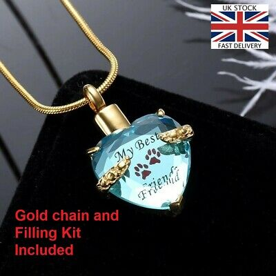 Pet Cat Dog Paw Heart Cremation Urn Pendant Ashes Necklace Funeral Memorial