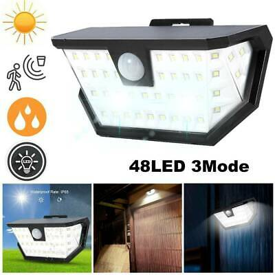 2PCS 48LED Solar Powered PIR Motion Sensor 3Mode Wall Security Light Garden Lamp