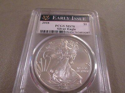 2018 Silver Eagle $1   Pcgs  Ms70  Early Issue   4387