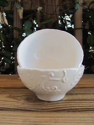 Footed Bowls~Vine Design~Ceramic~Made in Portugal~Pair