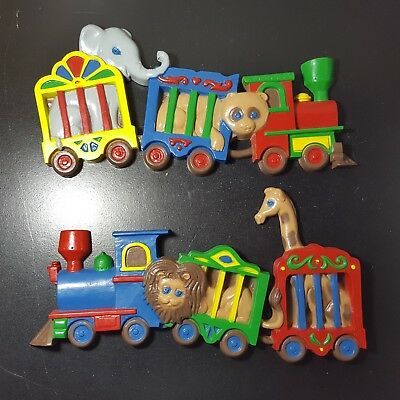 Vintage Set of 2 Burwood Products Circus Train Wall Plaque Nursery Child's Room