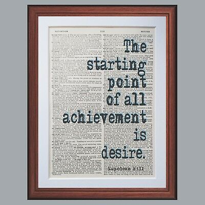 Napoleon Hill quote dictionary page literary art print book print quotes gift