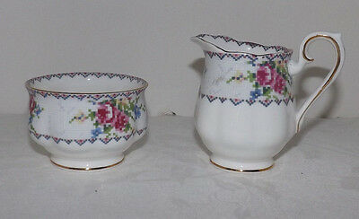 Royal Albert Petit Point Bone China CREAMER and OPEN SUGAR BOWL (England)