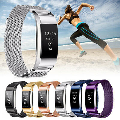 Replacement Milanese Stainless Steel Wrist Watch Band Strap For Fitbit Charge 2