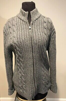 39928b012d67ce TED BAKER Women's cashmere wool Zip front Mock neck Cardigan Size 3 Gray